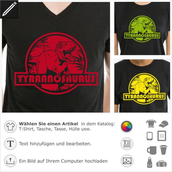 T-Shirt tyrannosaurus rex personalisiert. Gestalte ein originelles Dinosaurier T-Shirt mit diesem runden Logo, das vom Jurassic Park inspiriert wurde