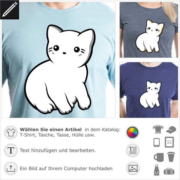 Kawaii Katzen T-Shirt im Profil, mit feinen Konturen und grauen Schatten.