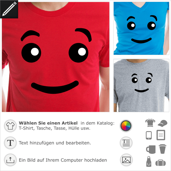 Lustige Augen Smiley. Gestalte ein T-Shirt mit diesemm Lego Figur Gesicht.