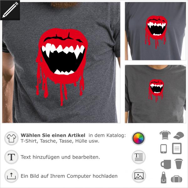 Blutiges Vampire Mund Design. Peronalisierbares Halloween Design für T-Shirt Druck.