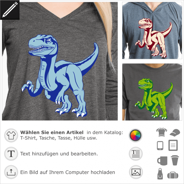T-Shirt Velociraptor zum Personalisieren und Drucken online. Stilisierter 3-farbiger, opaker Dinosaurier.