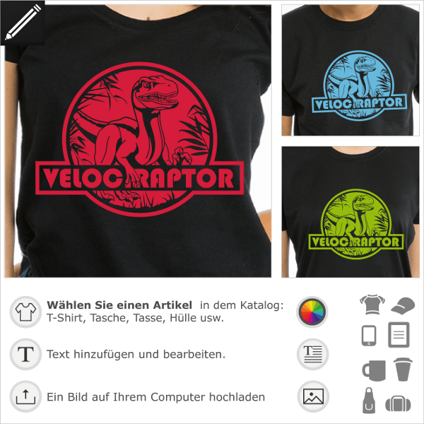 T-shirt Velociraptor gestalten. Dinosaurier-T-Shirt mit rundem Raptor-Logo, inspiriert vom Jurassic Park.