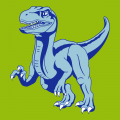 Anpassbares Dinosaurier-T-Shirt, mit einem Velociraptor im Vollgas, entworfen in 3 Farben.