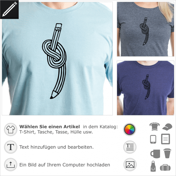 Bleistift mit einem Knoten Zeichnung für T-Shirt Druck.