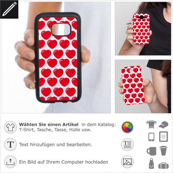 Runde Herzen Design für iPhone Hülle und Handy Case. 1 Farbe rundliche Herzen mit Schimmern personalisierbares Design.