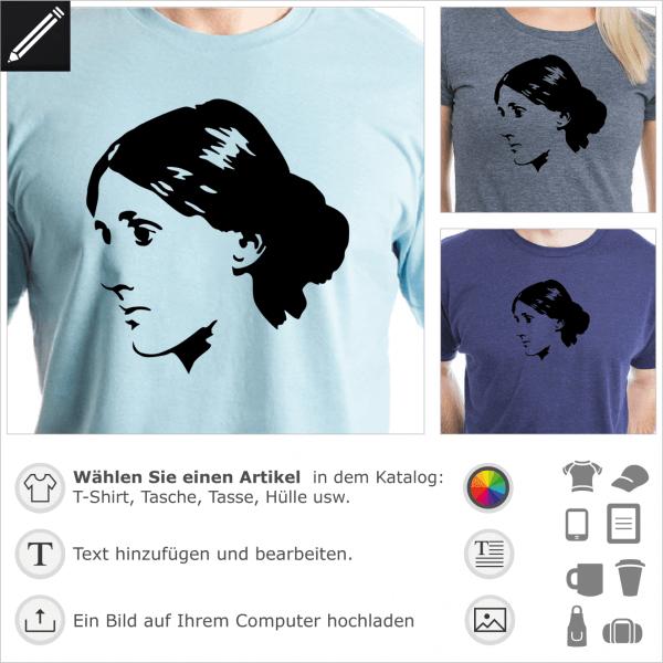 Virginia Woolf personalisierbares Porträt, eine Farbe Design für T-Shirt Druck.