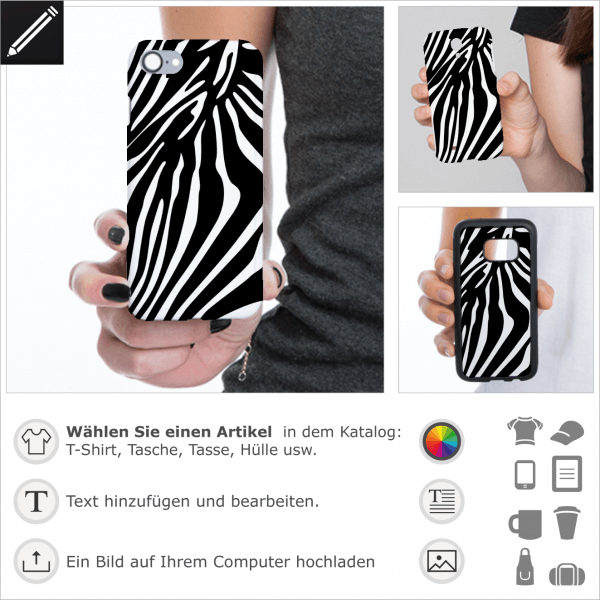 Zebra breite Streifen personalisierte Design für iPhone Hülle. Gestalte eine Handy Hülle mit diesen Streifen.