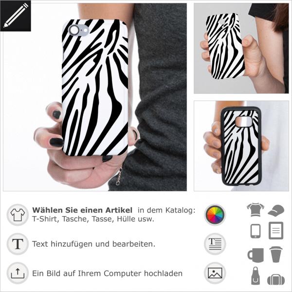 Zebra Streifen für Handy Hülle Druck. Personalisiere eine iPhone Hülle mit diesem Zebra Design.