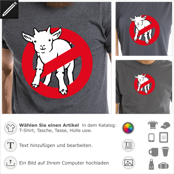 Ziege für T-Shirt Druck. Goatbusters, Geek Humor. Lustige Ziege und Verkehrsschild.