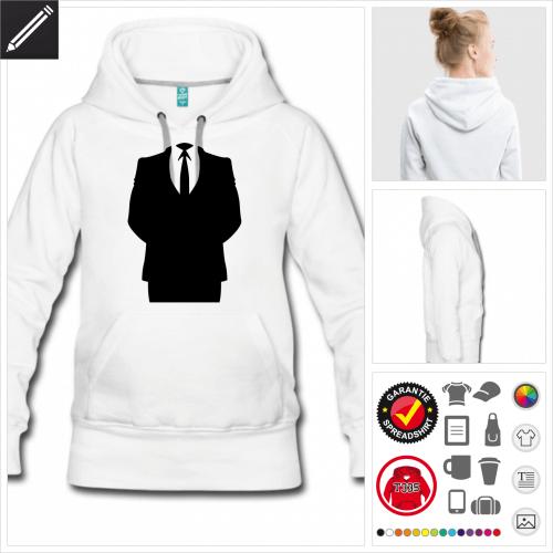 weisses Anonymous Logo Hoodie online gestalten