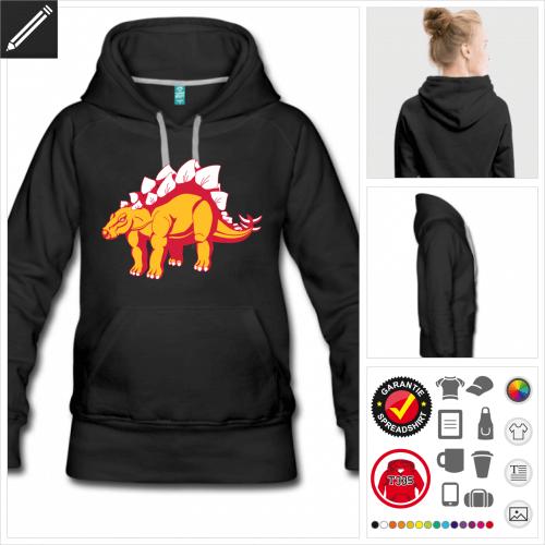 schwarzes Dinosaurier Hoodie online zu gestalten