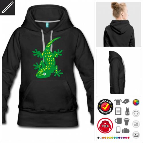 Gecko Kapüzenpullover selbst gestalten. Online Druckerei