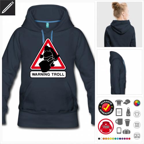 blaues Verkehrsschild Hoodie online Druckerei, höhe Qualität