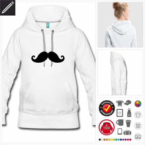 Damen moustache Hoodie online Druckerei, höhe Qualität