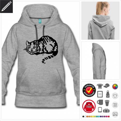 graues Cheshire Katze Sweatshirt selbst gestalten