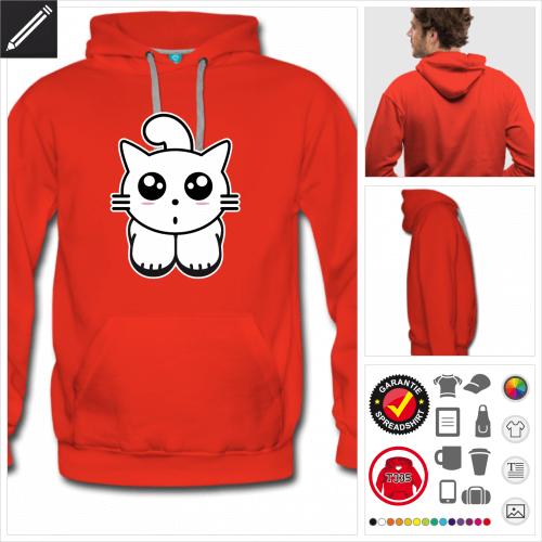 rotes Kätzchen Hoodie online Druckerei, höhe Qualität