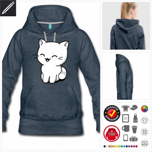 Kätzchen lachend Sweatshirt online gestalten