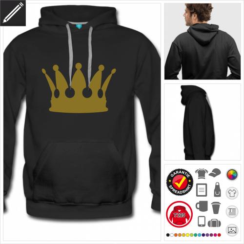schwarzes König Hoodie zu gestalten