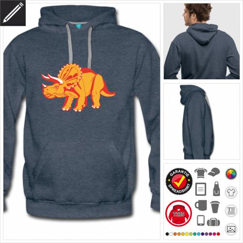 Triceratops Kapuzenpullover online Druckerei, höhe Qualität