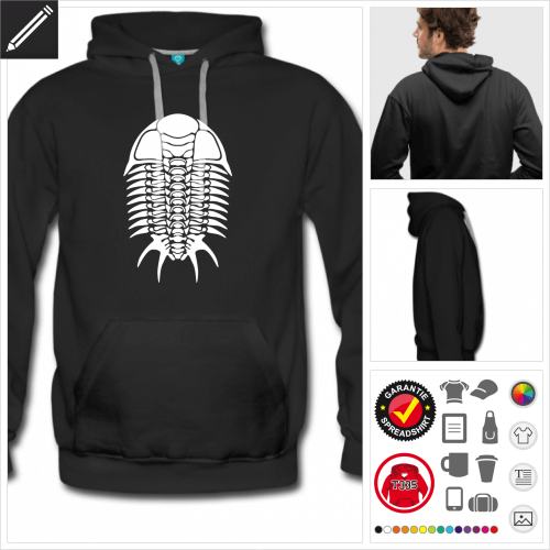 schwarzes Skelett Hoodie online gestalten