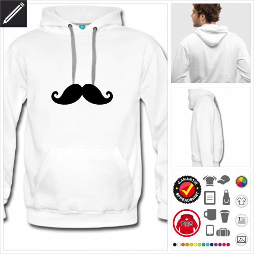 Männer Verzierter Schnurrbart Hoodie online Druckerei, höhe Qualität