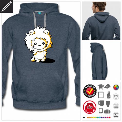 Männer Kätzchen Löwe Sweatshirt online Druckerei, höhe Qualität
