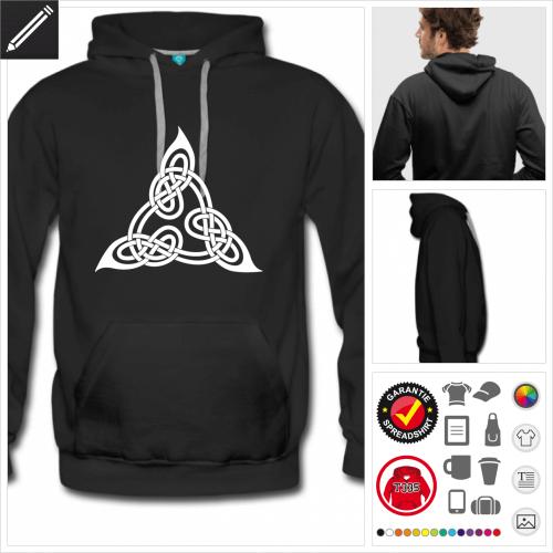 schwarzes Keltisches Hoodie selbst gestalten. Online Druckerei