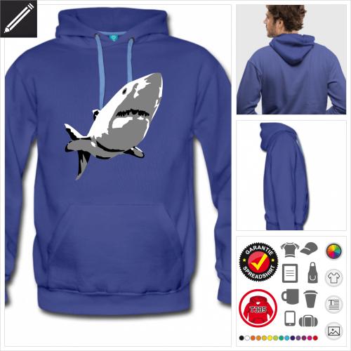 Weißhai Sweatshirt für Männer gestalten, Druck ab 1 Stuck