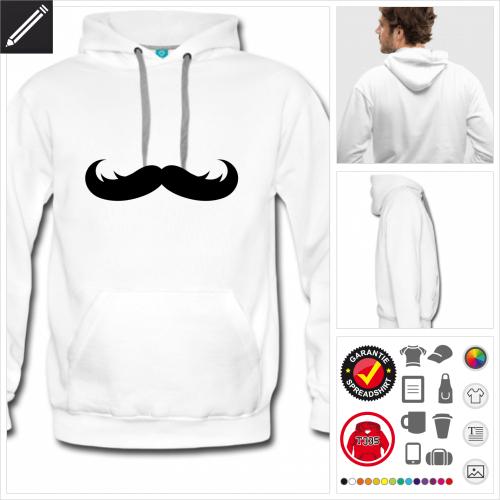Moustache Hoodie selbst gestalten