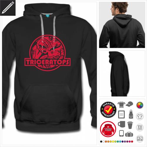 Triceratops Logo Sweatshirt für Männer selbst gestalten. Druck ab 1 Stuck