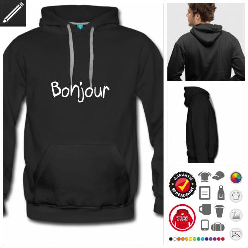 Männer Bonjour Hoodie selbst gestalten. Online Druckerei