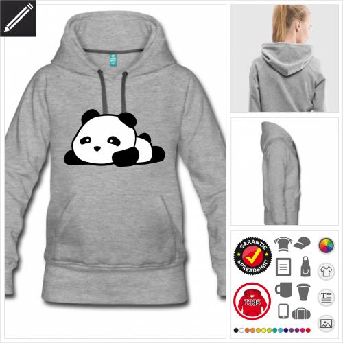 graues Panda kawaii Sweatshirt personalisieren