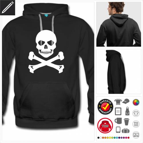 Totenkopf Sweatshirt für Männer selbst gestalten