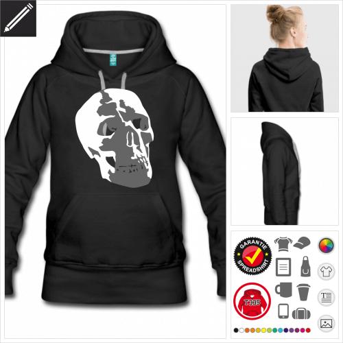 Frauen Totenkopf Hoodie selbst gestalten. Online Druckerei