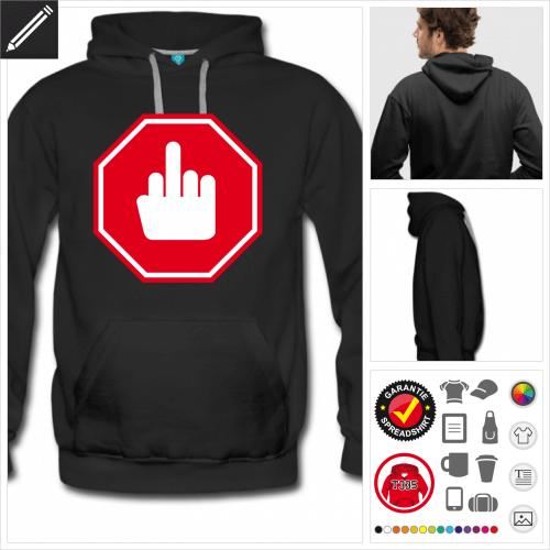Mittelfinger Sweatshirt für Männer online Druckerei, höhe Qualität