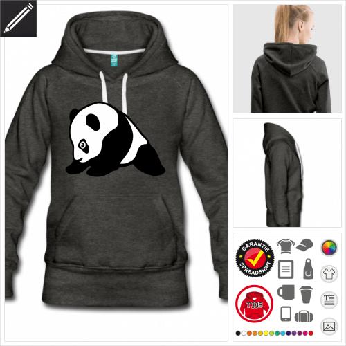 schwarzes Panda Hoodie online Druckerei, höhe Qualität
