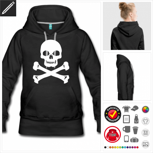 schwarzes Pirat Hoodie personalisieren