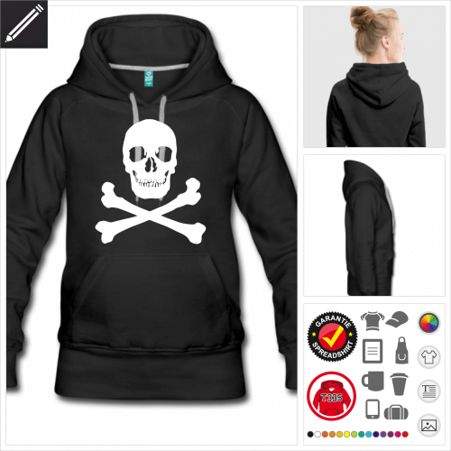 Totenkopf Hoodie selbst gestalten. Online Druckerei