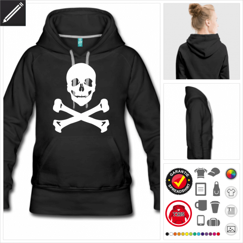 Totenkopf Hoodie personalisieren