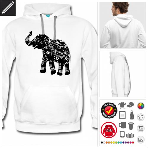 Elefanten Kapuzenpullover online Druckerei, höhe Qualität