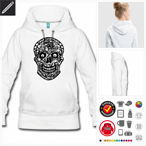 graues Schädel Sweatshirt selbst gestalten. Online Druckerei