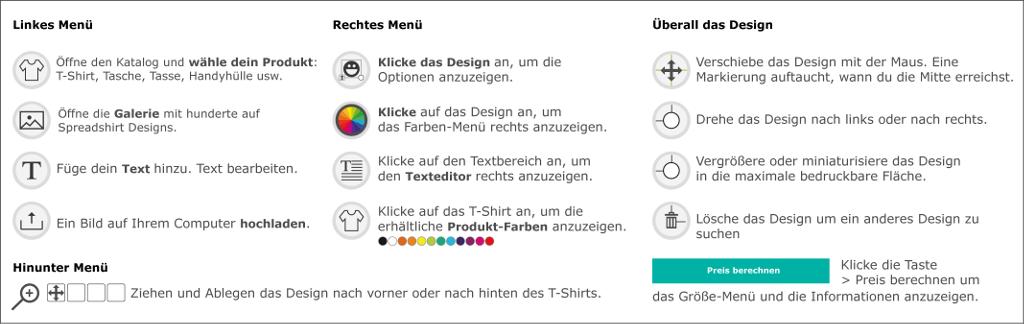 Spreadshirt Designer. Tools, Schrit um Schritt, Bedienungsanleitung