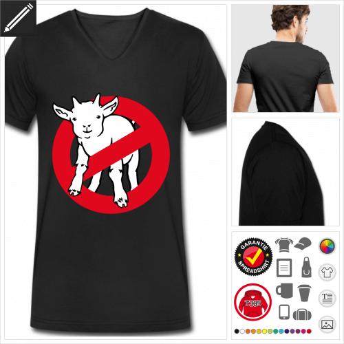 schwarzes Ziege T-Shirt personalisieren