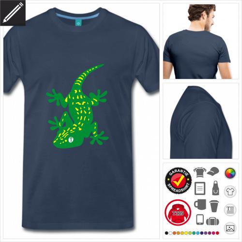 royalblaues Reptilien T-Shirt online gestalten