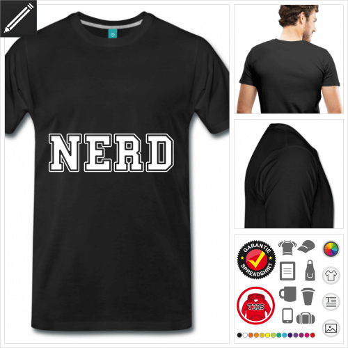 Männer Nerd T-Shirt selbst gestalten. Druck ab 1 Stuck