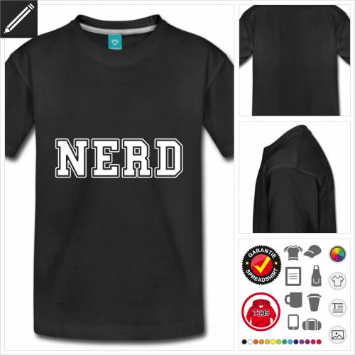 schwarzes Nerd T-Shirt zu gestalten