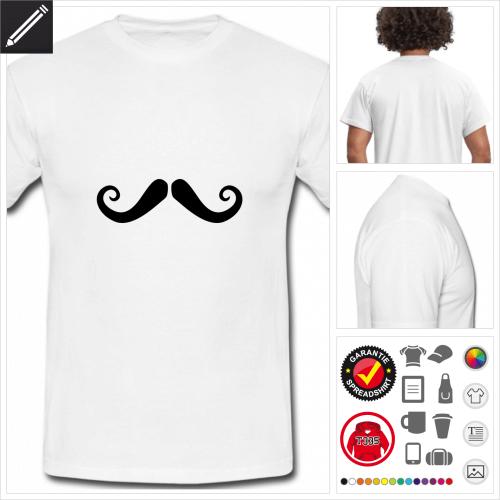 weisses Oberlippenbart T-Shirt online Druckerei, höhe Qualität