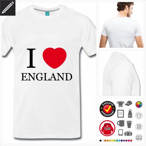 Männer I love England T-Shirt online Druckerei, höhe Qualität
