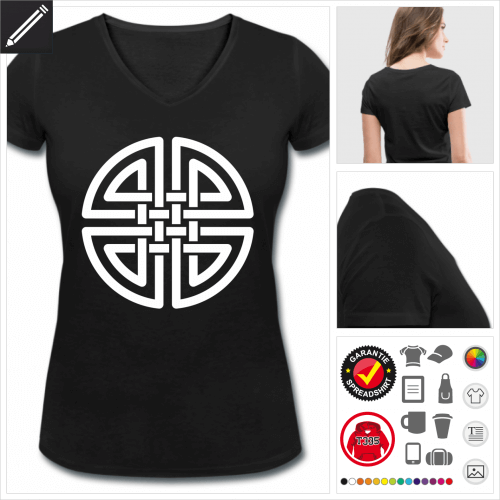V-Ausschnitt Keltisch T-Shirt selbst gestalten. Online Druckerei