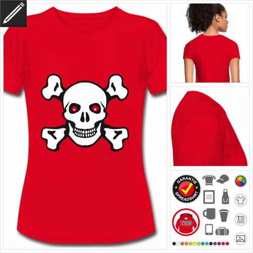 Frauen Totenkopf T-Shirt selbst gestalten. Online Druckerei